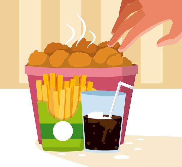 Самородки и соды с картофелем фри