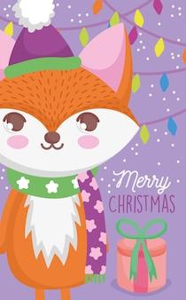 かわいいキツネハッピークリスマス