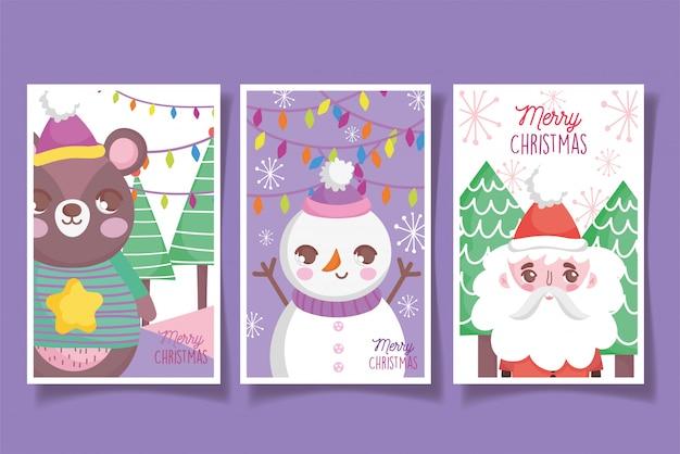 かわいいクマ雪だるまサンタハッピークリスマスカード