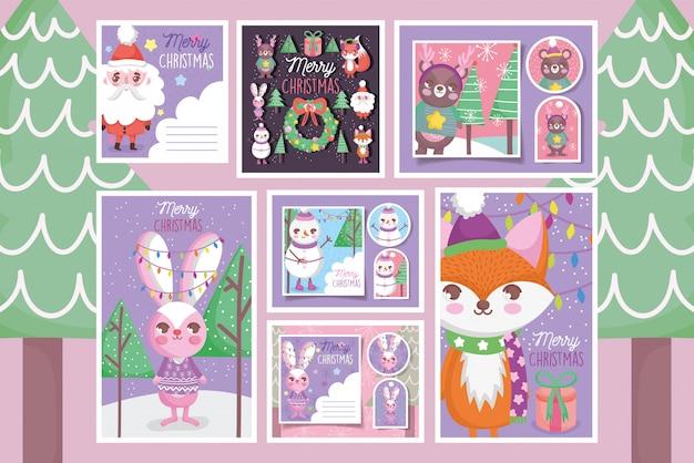 Симпатичные счастливые рождественские теги и открытки