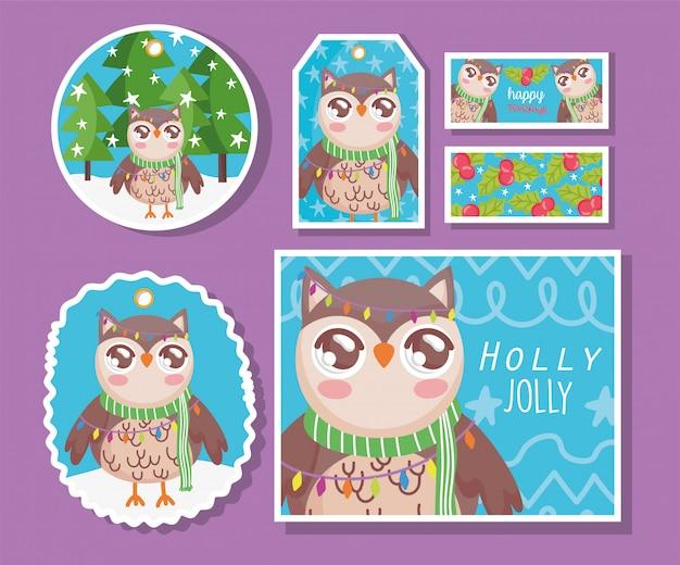 スカーフハッピーメリークリスマスとフクロウ