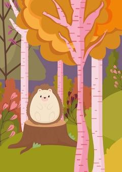 トランクの森にかわいいハリネズミの秋のイラスト