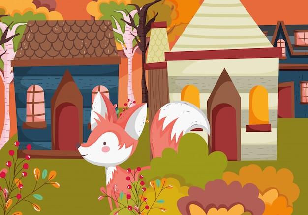 村の森を歩くかわいいキツネの秋イラスト