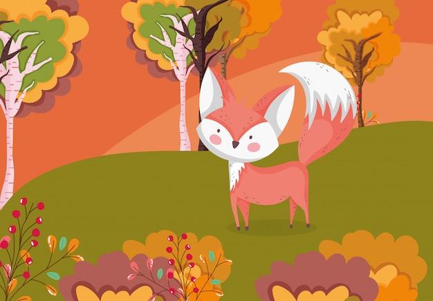 牧草地の葉のかわいいキツネの秋イラスト