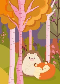 かわいいハリネズミとキツネの木の森公園の秋のイラスト