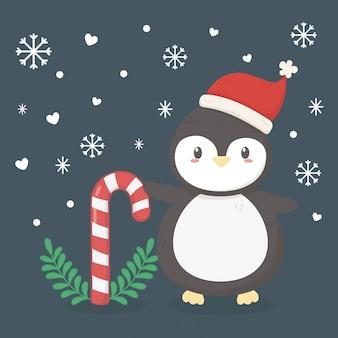 ペンギンの帽子と杖のイラスト