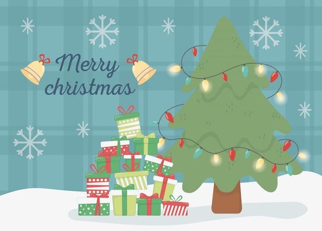 Дерево подарков и световых колокольчиков