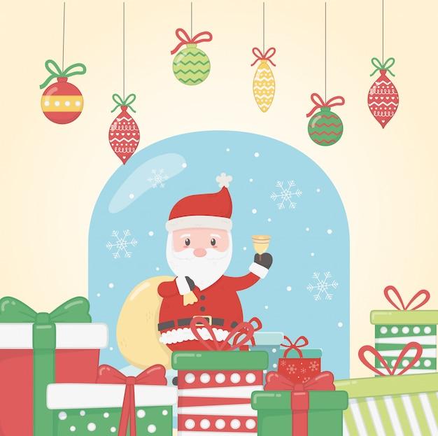 Санта с шарами и подарками