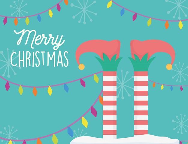 ヘルパーの足と光のクリスマスカード