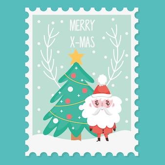 Санта с елкой счастливого рождества штамп