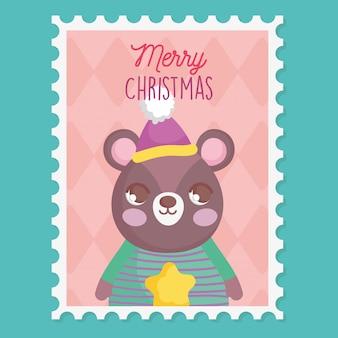 帽子とセーターのメリークリスマススタンプとクマします。