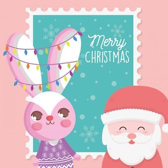 Санта клаус и кролик с огнями рождественская марка