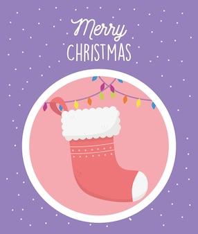 Красный носок огни снег с рождеством иллюстрации