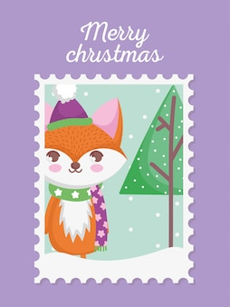 Фокс с шляпой и шарфом рождественская марка