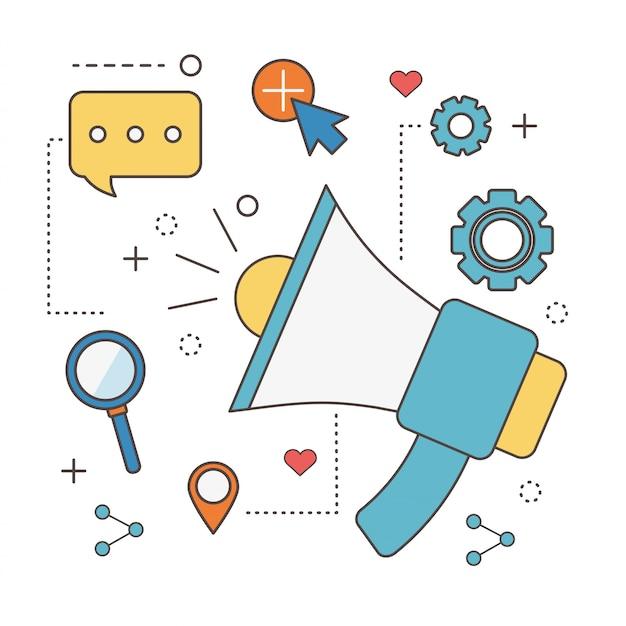 Маркетинговый мегафон, реклама, разговор, пузырь, сеть, социальные сети