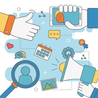 Рука, как динамик, мобильный чат, календарь, анализ, сеть, социальные медиа
