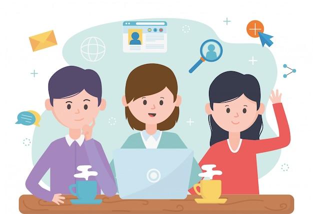 人々のグループのラップトップのブログは、ネットワークのソーシャルメディアをフォローします