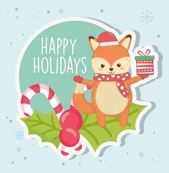 Милая лиса с подарком конфеты тростника листья с рождеством