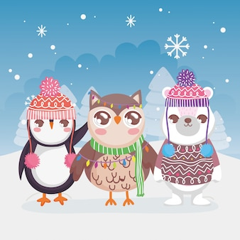 Симпатичные белый медведь пингвин и сова снежный пейзаж зима с рождеством