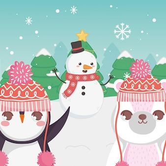 かわいいシロクマ雪だるまとペンギンの木のメリークリスマス