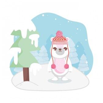 帽子雪木メリークリスマスとかわいいシロクマ