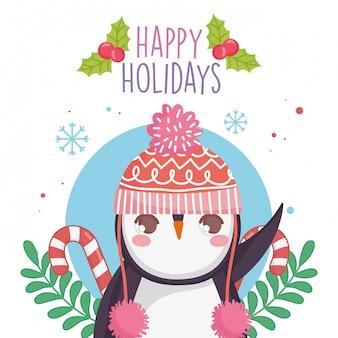 Милый пингвин в теплой шапке с леденцами
