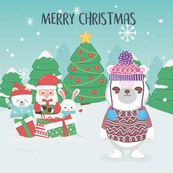 Милый санта полярные медведи деревья с рождеством