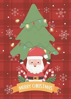 サンタの木とキャンディー杖メリークリスマスカード