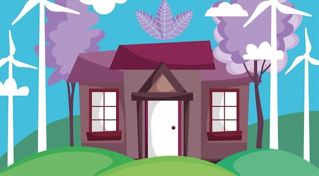 風力タービンのある家