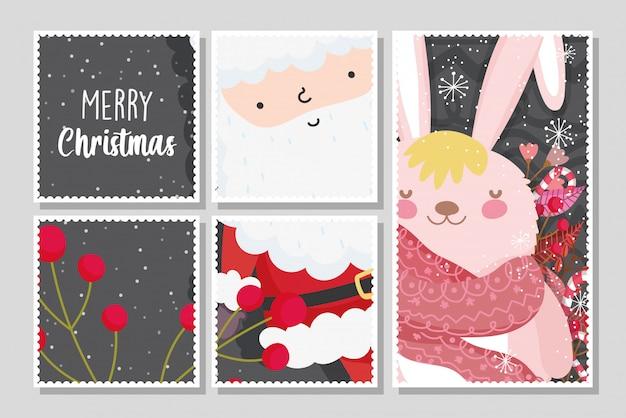 Веселые рождественские открытки с дедом морозом и зайчиком