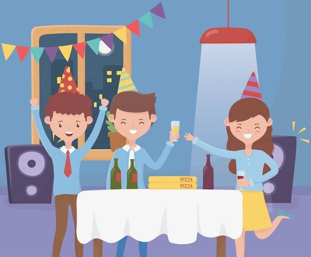 Счастливые люди наслаждаются музыкой слушают с вечеринкой празднования напитка