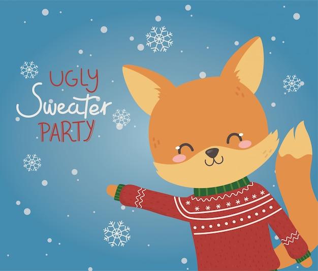 かわいいキツネクリスマスいセーターパーティー