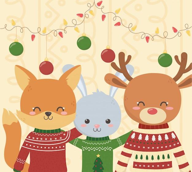 かわいいキツネのウサギと鹿クリスマスいセーターパーティー