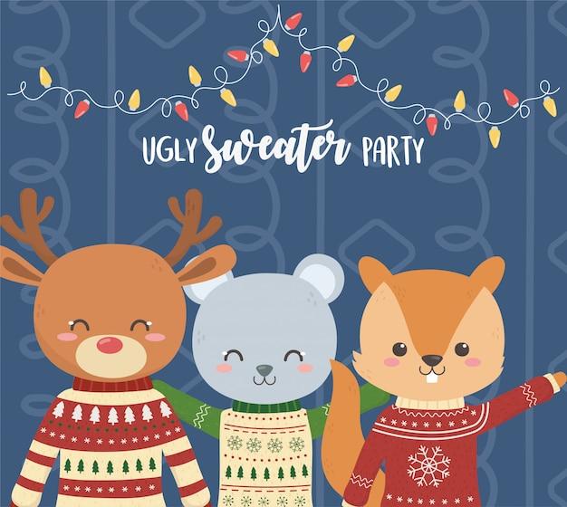 かわいいクマの鹿とリスクリスマスいセーターパーティー