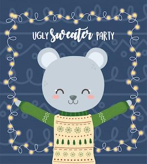 かわいいクマクリスマスいセーターパーティー