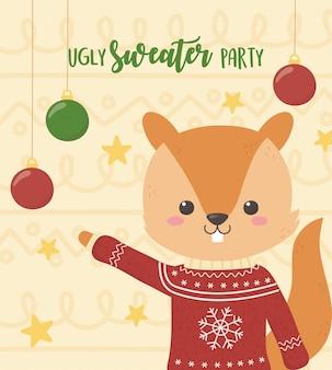 かわいいリスクリスマスいセーターパーティー