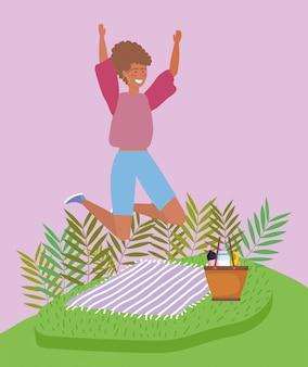 ジャンプ女性毛布バスケット食品ピクニック