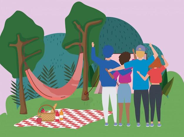 Люди машут рукой, гамак, одеяло, палатка, деревья, кемпинг, пикник