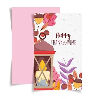 С днем благодарения иллюстрация празднования свечи желуди и листья