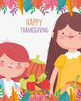 ママと娘の食べ物と葉の装飾