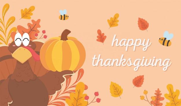 カボチャの蜂を保持しているトルコは、幸せな感謝祭のお祝いを残します
