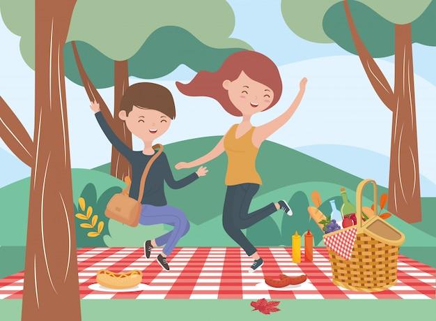 ジャンプカップルブランケット食品ピクニック自然アウトドア