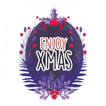 メリークリスマスのお祝いを楽しむ葉ホリーベリーラベル