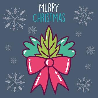 Счастливого рождества праздник красная лента лук и листва снежинки