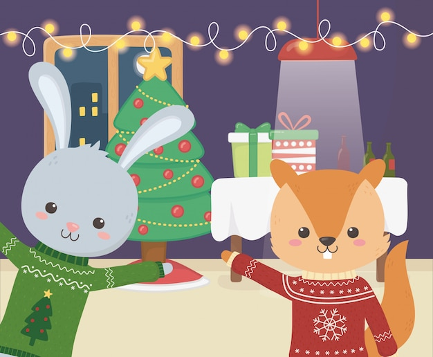 Счастливого рождества праздник кролика и белки ночь событие елка лампы огни подарочные коробки
