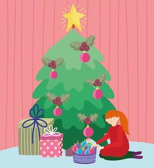 ツリーボールツリーギフトメリークリスマス、幸せな新年をぶら下げの女の子