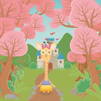 Жираф женского пола в очках и на одежде замок сказка фэнтези