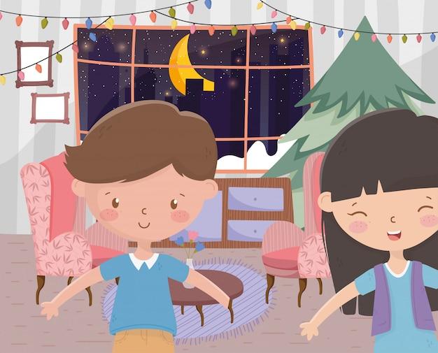 Мальчик и девочка гостиная с елкой огни празднования рождеством
