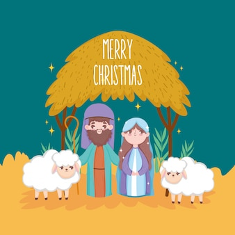 Мэри джозеф с овцами хижина ясли рождество, счастливого рождества