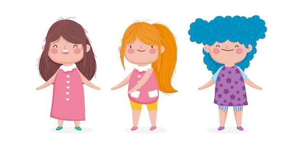 Милый мультфильм три маленькая девочка на белом фоне